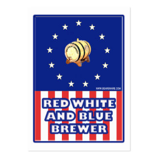 Cervecero blanco y azul rojo del vino tarjeta de negocio