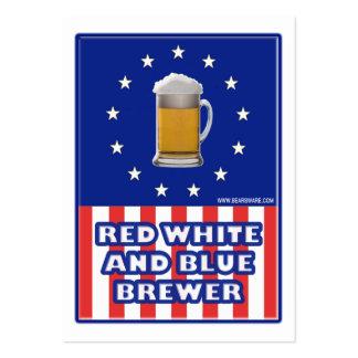 Cervecero blanco y azul rojo tarjeta de visita