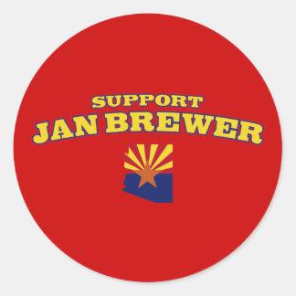 Cervecero de enero de la ayuda pegatina redonda