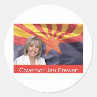 Cervecero de enero del gobernador etiqueta redonda