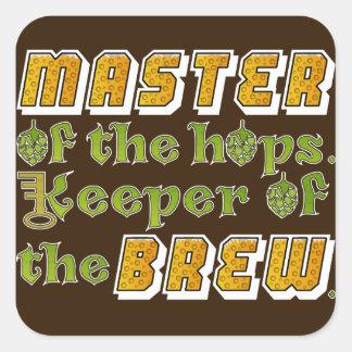 Cervecero de la cerveza del brew casero pegatina cuadrada