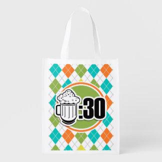 Cerveza: 30 en el modelo colorido de Argyle Bolsa De La Compra
