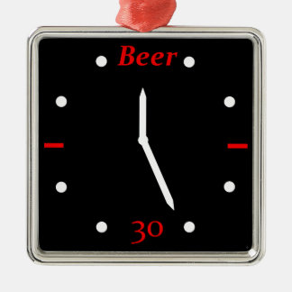 CERVEZA 30 - Reloj Adorno Navideño Cuadrado De Metal