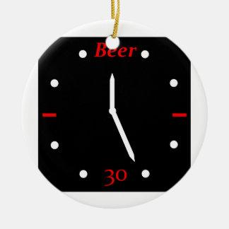 CERVEZA 30 - Reloj Adorno Navideño Redondo De Cerámica