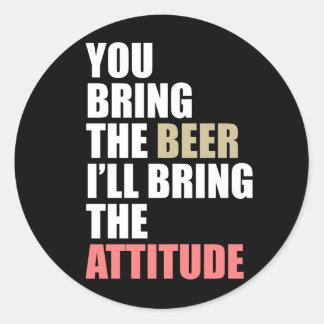Cerveza, actitud pegatina redonda