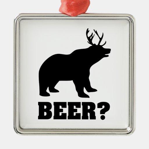 ¿Cerveza? Adorno Cuadrado Plateado