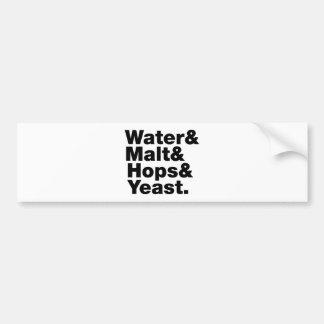 Cerveza = agua y malta y saltos y levadura pegatina para auto
