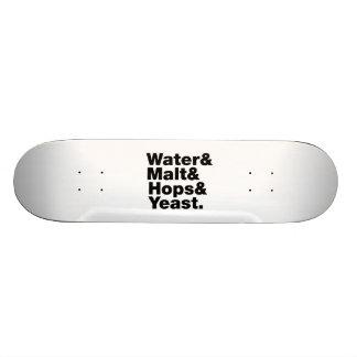 Cerveza = agua y malta y saltos y levadura tabla de patinar
