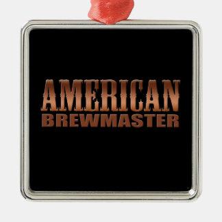 cerveza americana del cervecero del hogar del adorno navideño cuadrado de metal