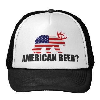 ¿Cerveza americana?  Oso de la bandera de los Gorras De Camionero