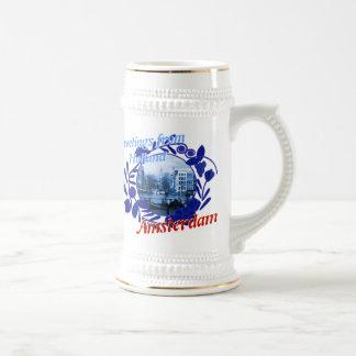 Cerveza azul Stein de Delft Amsterdam Holanda Taza