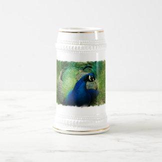Cerveza azul Stein del pavo real Taza De Café
