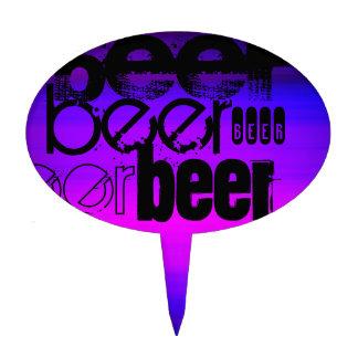 Cerveza; Azul violeta y magenta vibrantes Figura Para Tarta