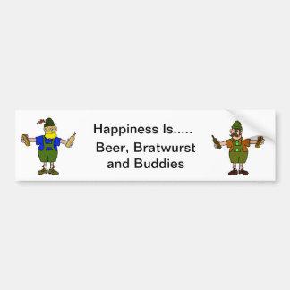 Cerveza, Bratwurst y pegatina para el parachoques  Etiqueta De Parachoque