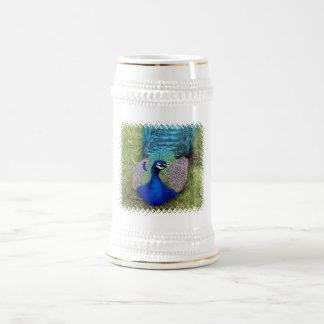 Cerveza colorida Stein del Peafowl Tazas De Café