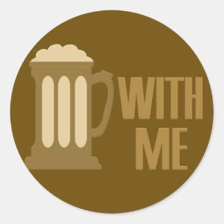 Cerveza conmigo pegatinas de encargo pegatina redonda