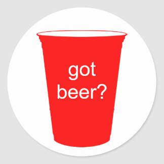 ¿cerveza conseguida? pegatina redonda