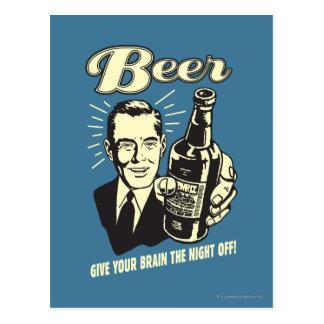 Cerveza: Dé a su cerebro la noche apagado Tarjetas Postales