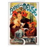 Cerveza de Alfonso Mucha de la tarjeta de nota de