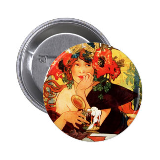 Cerveza de Alfonso Mucha del botón de la musa Pin