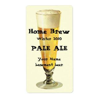 Cerveza de barril escarchada alta del vintage, etiquetas de envío