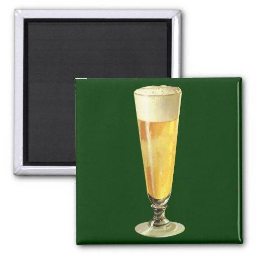 Cerveza de barril escarchada alta del vintage, imán cuadrado