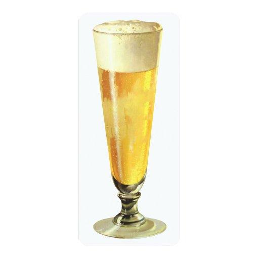 Cerveza de barril escarchada alta del vintage, invitación personalizada