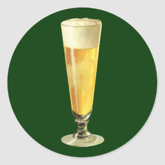 Cerveza de barril escarchada alta del vintage, pegatina redonda