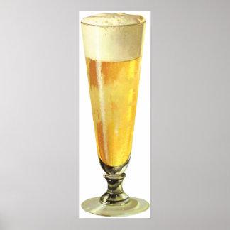 Cerveza de barril escarchada alta del vintage, póster