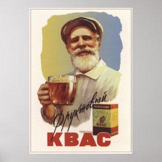 Cerveza de centeno soviética póster
