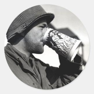 Cerveza de consumición del soldado americano de etiqueta redonda