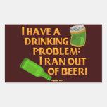 Cerveza de consumición divertida rectangular pegatina