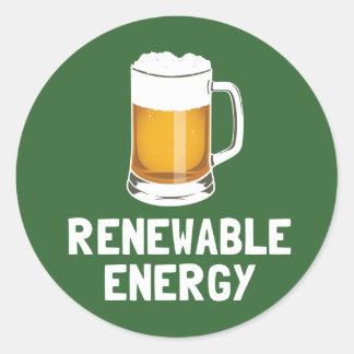 Cerveza de la energía renovable de St Patrick Pegatina Redonda