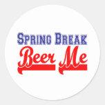 Cerveza de las vacaciones de primavera yo (fiesta pegatina redonda