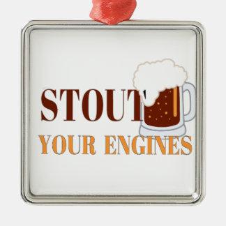 Cerveza de malta sus motores adorno cuadrado plateado