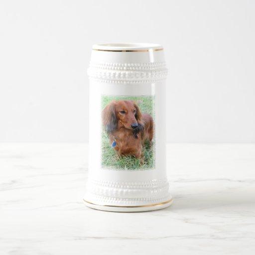 Cerveza de pelo largo Stein del Dachshund Jarra De Cerveza