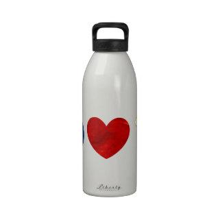 Cerveza del amor de la paz botella de agua