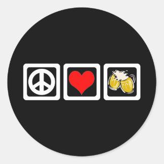 Cerveza del amor de la paz etiquetas