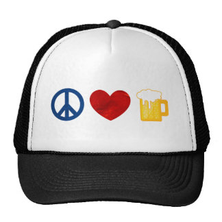 Cerveza del amor de la paz gorras