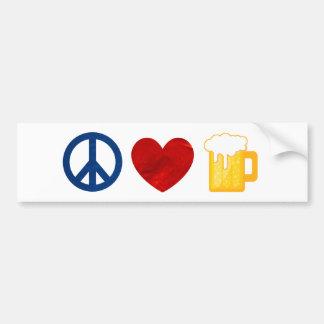 Cerveza del amor de la paz pegatina para auto