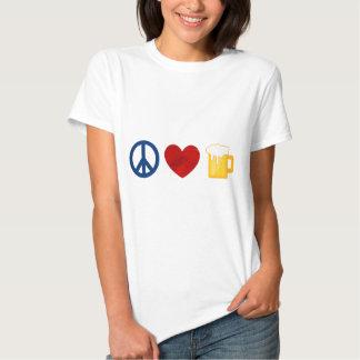 Cerveza del amor de la paz playera