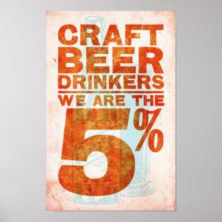 Cerveza del arte Bebedor-somos los 5% Póster