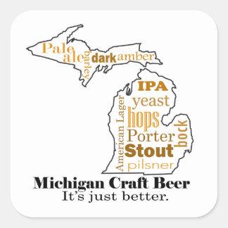 Cerveza del arte de Michigan - es apenas mejor Pegatina Cuadrada