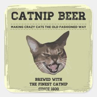 Cerveza del Catnip Pegatinas Cuadradases Personalizadas