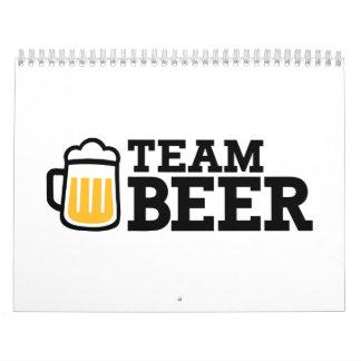Cerveza del equipo calendario