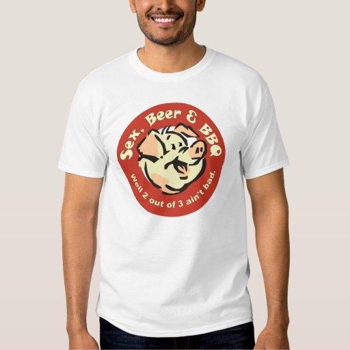 Cerveza del sexo y camiseta del Bbq Poleras