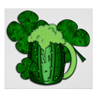 Cerveza del verde del día de San Patricio Póster