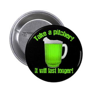 Cerveza del verde del día de St Patrick divertido Pins