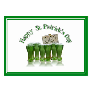 ¡Cerveza del verde del día de St Patrick para un Tarjetas De Visita Grandes