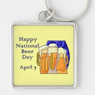 Cerveza día 7 de abril nacional llavero cuadrado plateado